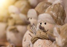 Weihnachtsdekorationsschneemänner stockfotos