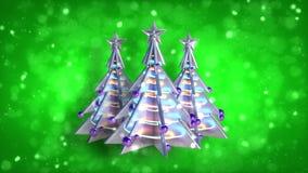 Weihnachtsdekorationsweihnachtsbaumschleifen-Grünfunkeln v3 stock footage