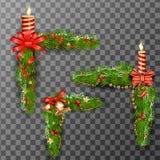Weihnachtsdekorative Elemente lokalisiert auf transparentem Hintergrund Auch im corel abgehobenen Betrag Lizenzfreie Stockfotos