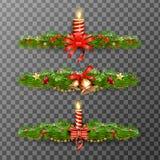Weihnachtsdekorative Elemente lokalisiert auf transparentem Hintergrund Auch im corel abgehobenen Betrag Lizenzfreies Stockfoto