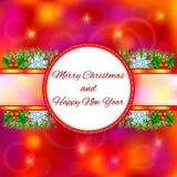 Weihnachtsdekoratives Karte guten Rutsch ins Neue Jahr mit Schneeflocken und Weihnachtsbaum Lizenzfreies Stockfoto