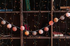 Weihnachtsdekorgirlande auf hölzernen shelaves mit Büchern Jahr 2009 Lizenzfreie Stockfotos