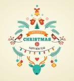 Weihnachtsdesign mit Vögeln, Elementen und Rotwild Lizenzfreies Stockbild