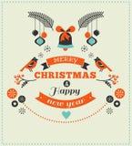 Weihnachtsdesign mit Vögeln, Elementen und Rotwild Lizenzfreie Stockfotos