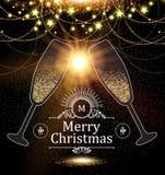 Weihnachtsdesign-Schablone mit Champagne Glasses, Goldeffekten, Sternen und Blitzlicht Auch im corel abgehobenen Betrag Lizenzfreie Stockfotos