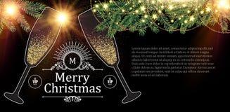Weihnachtsdesign-Schablone mit Champagne Glasses, Goldeffekten, Tannen-Baumasten, Bogen und Blitzlicht Vektor Stockfotos