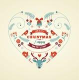 Weihnachtsdesignherz mit Vögeln und Rotwild Lizenzfreie Stockfotos