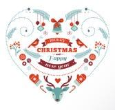 Weihnachtsdesignherz mit Vögeln und Rotwild Lizenzfreie Stockfotografie