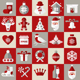 Weihnachtsdesignikonen eingestellt Karte des glücklichen neuen Jahres Lizenzfreies Stockfoto