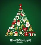 Weihnachtsdesignikonen eingestellt Karte des glücklichen neuen Jahres Lizenzfreies Stockbild