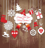 Weihnachtsdesignikonen eingestellt Karte des glücklichen neuen Jahres Stockfotografie