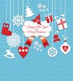 Weihnachtsdesignikonen eingestellt Karte des glücklichen neuen Jahres Stockbild