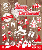 Weihnachtsdesignikonen eingestellt Karte des glücklichen neuen Jahres Lizenzfreie Stockfotografie