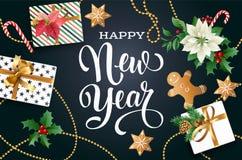 Weihnachtsdesignzusammensetzung der Poinsettias, der Tannenzweige, der Kegel, des Lebkuchens, der Zuckerstange, der Stechpalme un vektor abbildung