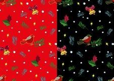 Weihnachtsdompfaff und Glockenmustersatz Vektor Lizenzfreie Stockfotos