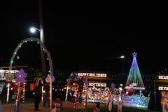 Weihnachtsdorf-Lichtshow Stockbild
