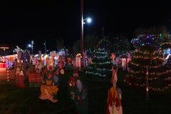 Weihnachtsdorf-Lichtshow Lizenzfreie Stockfotos