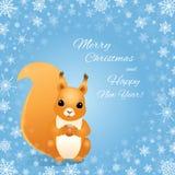 Weihnachtseichhörnchen auf Blau, Schneeflockenrahmen Lizenzfreie Stockfotos