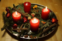 Weihnachtseinführungskerzen Stockfoto
