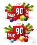 Weihnachtseinkaufstasche druckte mit einem achtzig und neunzig Rabatt Vektor Lizenzfreie Stockfotografie