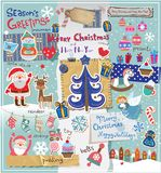 Weihnachtseinklebebuchsatz Stockfotografie