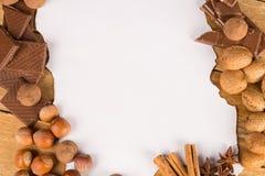 Weihnachtseinladung mit Schokoladen Lizenzfreie Stockfotos