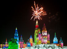 Weihnachtseisstadt in Harbin stockbilder