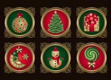 Weihnachtselemente im Gold (stellen Sie 1) ein Stockfotos