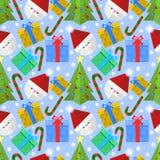 Weihnachtselemente mit nahtlosem Hauptmuster Sankt vektor abbildung