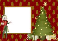 Weihnachtself-Einklebebuch-Seite Stockfotos