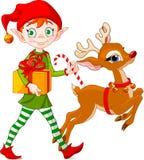 Weihnachtself und -rudolph Stockfotos