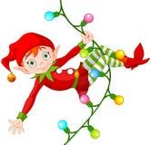 Weihnachtselfe auf Girlande lizenzfreie abbildung