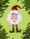Weihnachtselfe mit einem Zeichen Sie können frohe Weihnachten für alle lesen lizenzfreie stockbilder