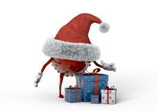 Weihnachtselfe und -geschenke Stockfoto