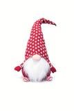 Weihnachtselfen-Dekoration mit Polka Dot Hat und langem weißem Bart Lizenzfreie Stockfotografie