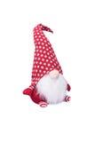 Weihnachtselfen-Dekoration mit Polka Dot Hat und langem weißem Bart Stockfotos