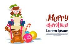 Weihnachtselfen-Mädchen-Zeichentrickfilm-Figur-Santa Helper Read Present List-Kasten Lizenzfreie Stockfotografie