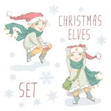 Weihnachtselfen-Satz Stockfotos