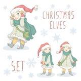 Weihnachtselfen-Satz Stockfotografie