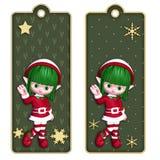 Weihnachtselfmarken oder -bookmarks Stockfoto