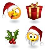 Weihnachtsemoticons und -elemente Stockfoto