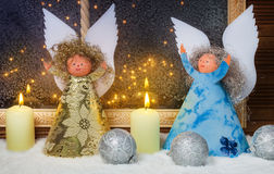 Weihnachtsengel, Fensterdekorationen Stockbild