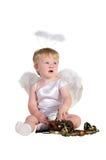 Weihnachtsengel, kleines Kind mit Telefon lizenzfreie stockfotografie