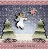 Weihnachtsengel und der Stern von Betlehem-Weihnachtsbäumen und die Wort Freude zur Welt stock abbildung