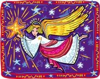Weihnachtsengel und -stern Lizenzfreies Stockbild
