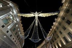 Weihnachtsengelslichter auf Regent Street London W1, Großbritannien lizenzfreies stockbild