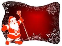 Weihnachtsentwurf mit Santa Claus, weißem Rahmen, Funkeln und würdevollen weißen Schneeflocken stock abbildung