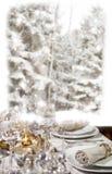 Weihnachtsessen vor Winterwald Stockbild