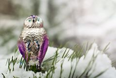 Weihnachtseule auf einer lebhaften Winterniederlassung Lizenzfreie Stockfotografie