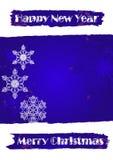 Weihnachtsfahne in den blauen grunge Farben stock abbildung